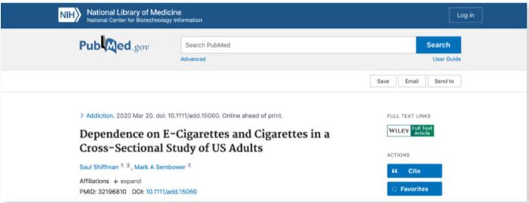 美国国立卫生研究院:电子烟的成瘾性显著低于香烟